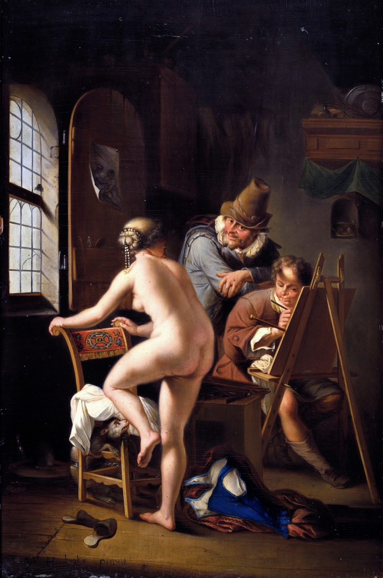 the painter and his model arnold houbraken